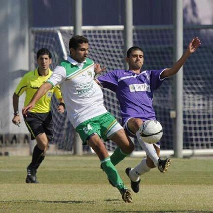 Sahar playing soccer