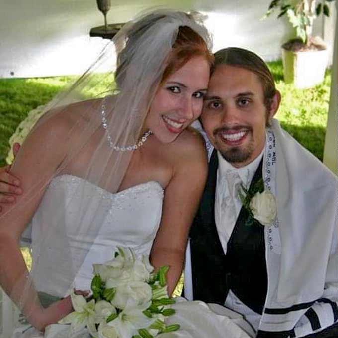 Simon and Liz at their wedding