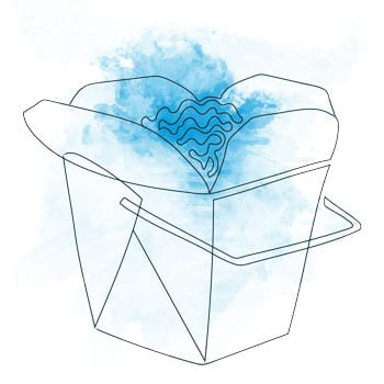 Chinese takeout container drawing